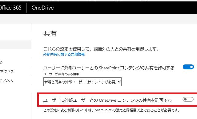 OneDrive for Business の外部共有を禁止したい